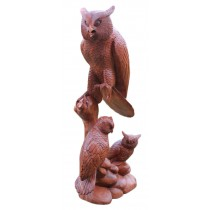 Wooden Owl Statue On Base