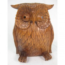 Wooden Owl (30cm) Brown Finish