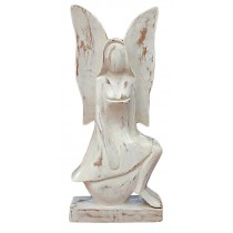 Wooden Angel Sitting - White Wash Finish