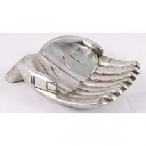 Wooden Hand Bowl 24cm (MIN 2) - Antique Silver Finish