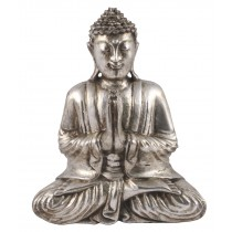 Wooden Buddha Praying - Antique Silver Finish