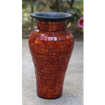 Orange Terracotta & Glass Vase - 60cm