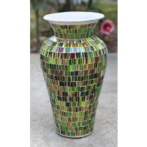 Green & Brown Terracotta & Glass Vase - 60cm
