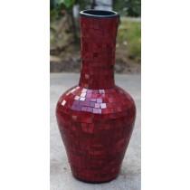 Burgundy Terracotta & Glass Vase - 100cm