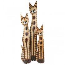 Set Of 3 Wooden Ginger Cats (Large Set)