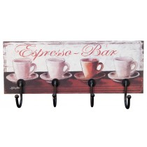 Espresso Bar Wall Hanger (4 Hooks) *MIN QTY 2*