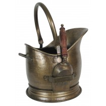 Coal Bucket With Shovel - Antique Brass Finish