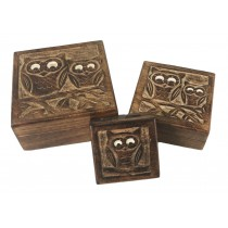 Mango Wood Ollie Owl Design Set of 3 Boxes