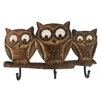 Mango Wood Ollie Owl Design Triple Hook