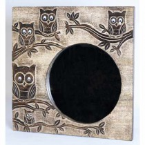 Mango Wood Ollie Owl Design Mirror