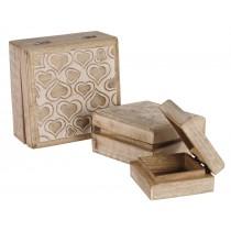 Mango Wood Heart Design Set Of 3 Boxes