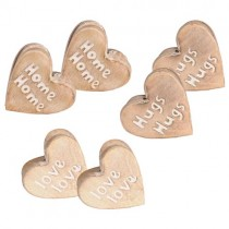 Mango Wood Home, Hugs & Love Assorted Set of 6 Paper Clip