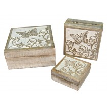 Butterfly Design Set Of 3 Square Boxes