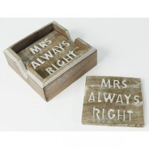 Mrs Always Right Set of 4 Coasters