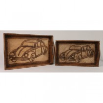 Set Of 2 Retro Car Design Trays