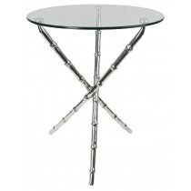 Aluminium Bamboo Table Glass Top