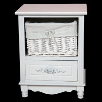 White Cabinet with 1 Drawer & 1 Basket