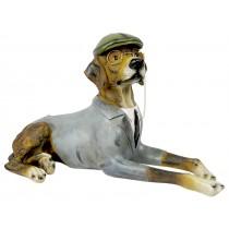 Beagle Dog Lying Down Wearing Hat & Jacket