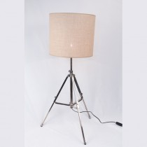 Aluminium Tripod Bulb Socket with Linen Lamp Shade
