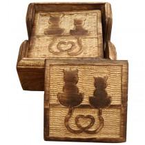 Wooden Set of 6 Cat Coasters