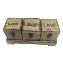Set Of 3 Live, Love, Laugh Boxes On Stand