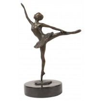 Ballerina Leg Up Bronze Sculpture On Marble Base