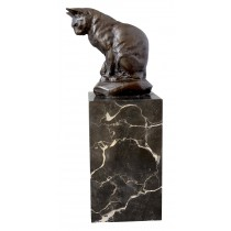 Cat Bronze Sculpture On Marble Base