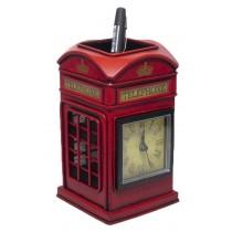 Telephone Box Pen Holder and Clock