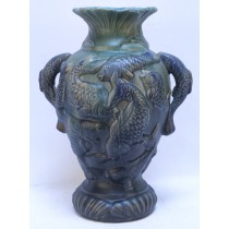 Embossed Majolica Fish Vase