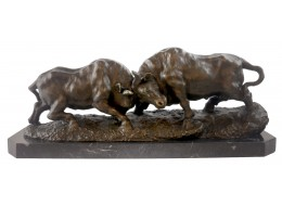 Fighting Bulls Bronze Sculpture On Marble Base