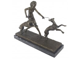 Lady with 2 Dogs Bronze Sculpture On Marble Base 42cm
