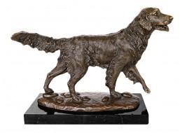 Dog Retriever Bronze Sculpture On Marble Base