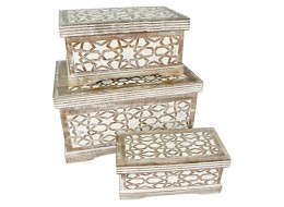 Mango Wood Set Of 3 Large Star Boxes - Burnt White Finish