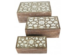 Mango Wood Set Of 3 Star Boxes - Burnt White Finish