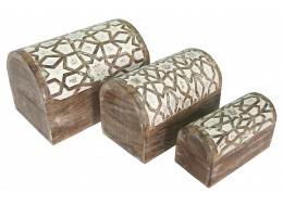 Mango Wood Set Of 3 Star Domed Boxes - Burnt White Finish