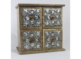 Mango Wood 4 Drawer/Box Metal Overlay Chest
