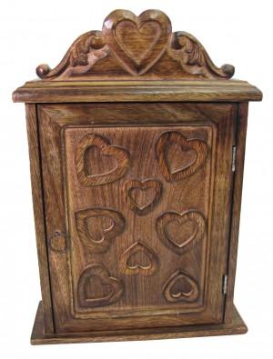 Mango Wood Heart Design Key Box