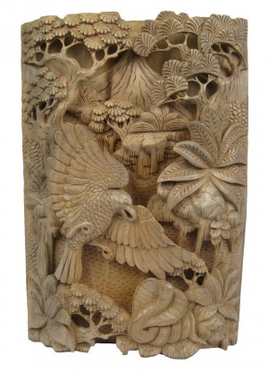 Wooden Handcarved Wall Hanging - Eagle & Cobra