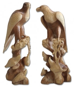 Wooden Eagle With 3 Babies - Natural Polished - Suar Wood - 80cm