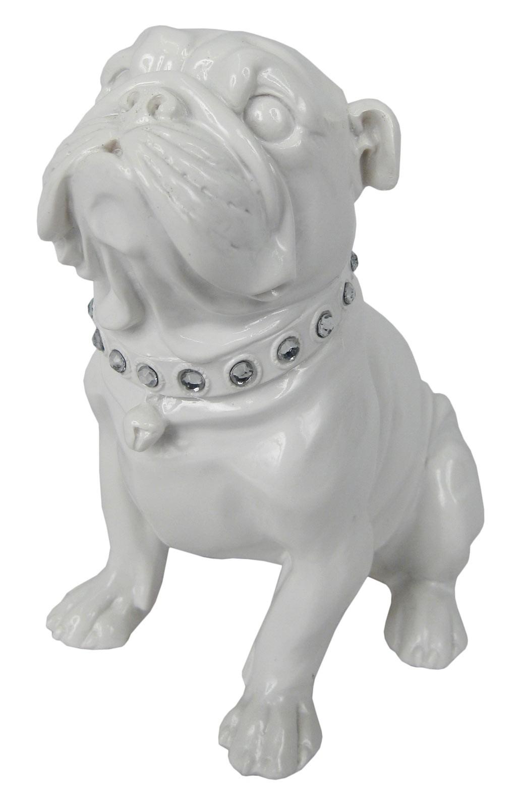 Bulldog Sitting White 18.5cm