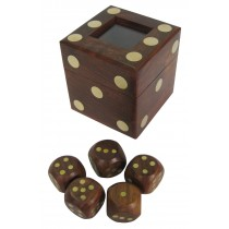 Dice Box with 5 Dice 8cm