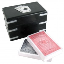 Double Card Box (Aluminium & Dark Brown Wood Finish) 12cm