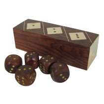 Dice Box with 5 Dice 13cm