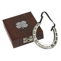 Good Luck Horse Shoe in Wooden Box with 4 Leaf Clover Design 12cm