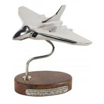 Vulcan Plane On wooden Base Nickel Plated - 19cm