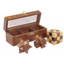 3 Puzzle Set In Sheesham Box 18cm