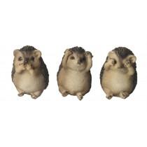 Set Of 3 Hedgehogs - Hear Speak, & See No Evil - 8cm