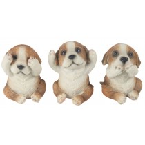 Set Of 3 Jack Russell Dogs - Hear Speak, & See No Evil - 8cm