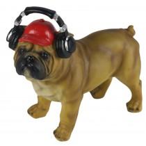 Bulldog Money Box With Headphones 24cm