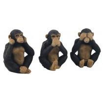 Set Of 3 Chimps - Hear Speak, & See No Evil - 15.5cm